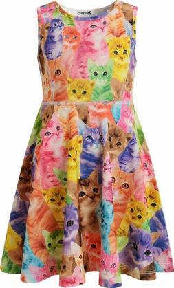 Jxstar Girls Summer Dress Sleeveless Printing Casual/Party 3