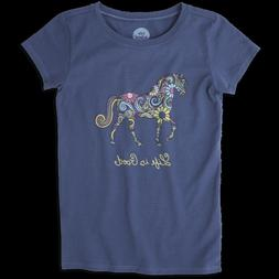 Life is Good Girls Swirly Horse Crusher Tee XL  , New with T