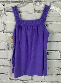 Cherokee Girls Tank Top Size Small  Purple Lace Neckline and