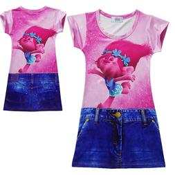 Girls Toddlers Cute Kawaii Trolls Simulation Jeans Shorts Ho