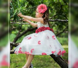 Girls Tutu Bow Rose Floral Petals Princess Dress for Birthda