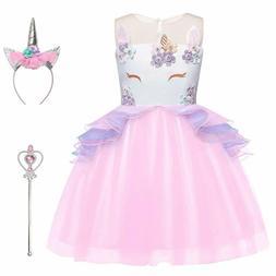 Jxstar Girls Unicorn Costume Flower Pageant Princess Dresses