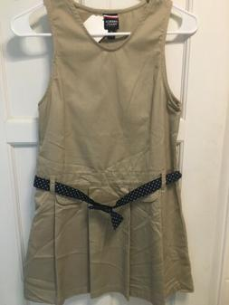 French Toast Girls' Uniform Pleated Dress Khaki  Size 12 New