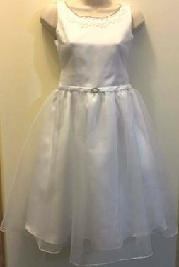 Rare Editions Girls White Embroidery Organza Communion Easte