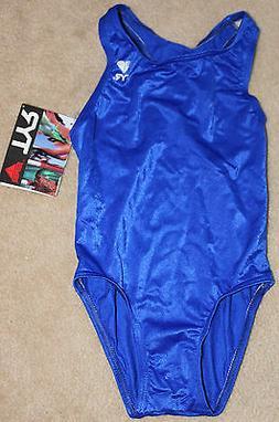 TYR Girls Youth Children Royal Blue Size 5 XS One Piece Swim