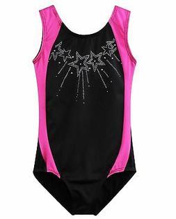 BAOHULU Gymnastics Leotards Little Girls Shiny Black Blue On