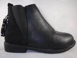 I LOVE YO KIDS Sydney Girls Boots Black Zip Up Tassel Dress
