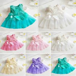 Newborn Baby Girls Bridesmaid Dress Flower Kids Party Weddin