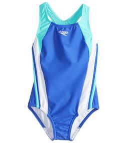 Speedo Infinity Splice One Piece Swimsuit Girl's sz 12 Dark