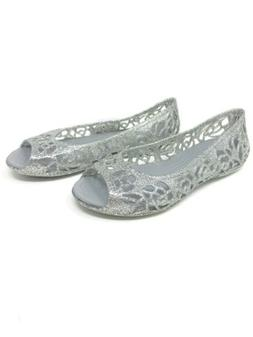 Crocs Isabella Girl's Silver Glitter Jelly Shoes Size J 2