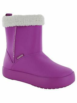 Crocs Juniors ColorLite Boot Shoes, Wild Orchid/Oatmeal, US