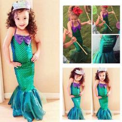 Kid Ariel Little Mermaid Set Girl Princess Dress Party Cospl
