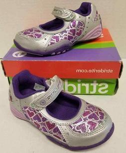 Kid Girls Stride Rite Panache Silver Purple Glitter Size US
