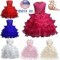 Kids Baby Girl Princess Bow Tutu Dress Wedding Bridesmaid Pa