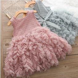 Kids Baby Girls Flower Lace Princess Party Birthday Dress Tu