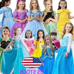 Kids Cinderella Girls Princess Costume Fairytale Belle Auror