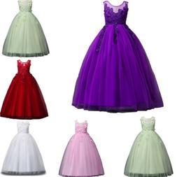 Kids Girl Dress Bridesmaid Flower Teenage Girls Princess Wed