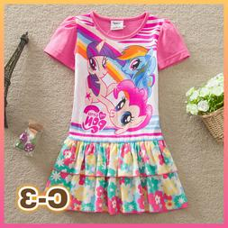 Kids Girl Princess My Little Pony Dress 100% Cotton For 3y -