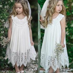 Kids Girls Baby Princess Lace Dress Boho Flower Wedding Part