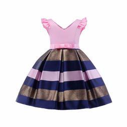 Kids Girls Striped Dress For Girls Formal Wedding Party Dres