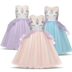 Kids Girls Unicorn Flower Wedding Dress Party Princess Birth