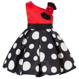 Kids Skirts Toddlers Polka Dot Girls One Off Shoulder Dress