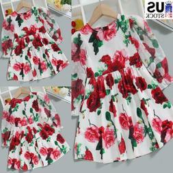 Kids Toddler Baby Girls Long Sleeve Floral Frilled Dress Cas
