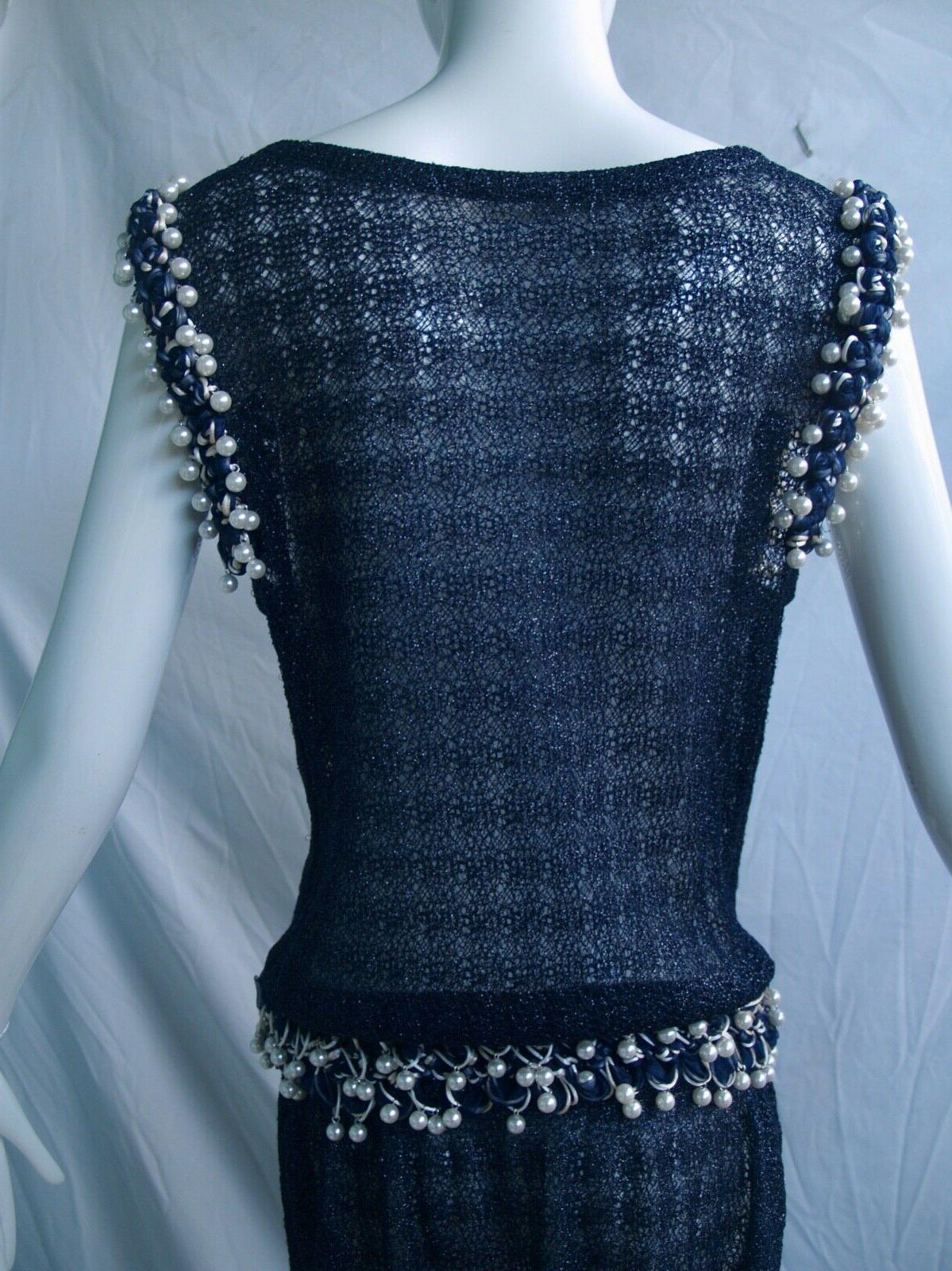 CHANEL 10P Gown Pearl Sleeveless