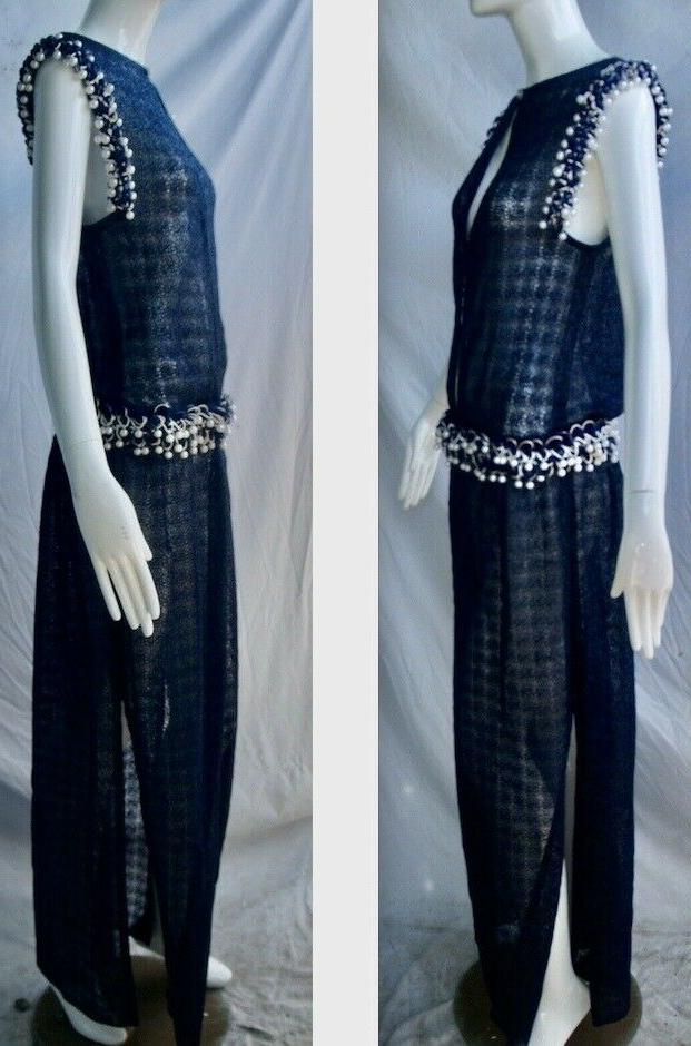 CHANEL NAVY Gown Pearl Embellished Long Dress