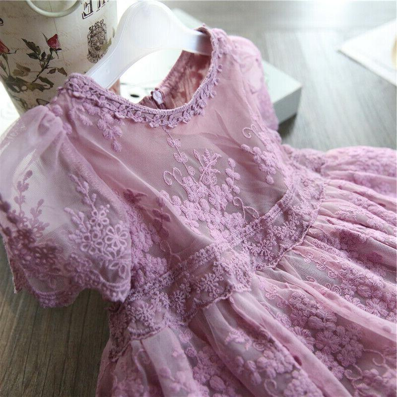 Baby Girl Lace Embroidery Princess Purple Summer Clothes