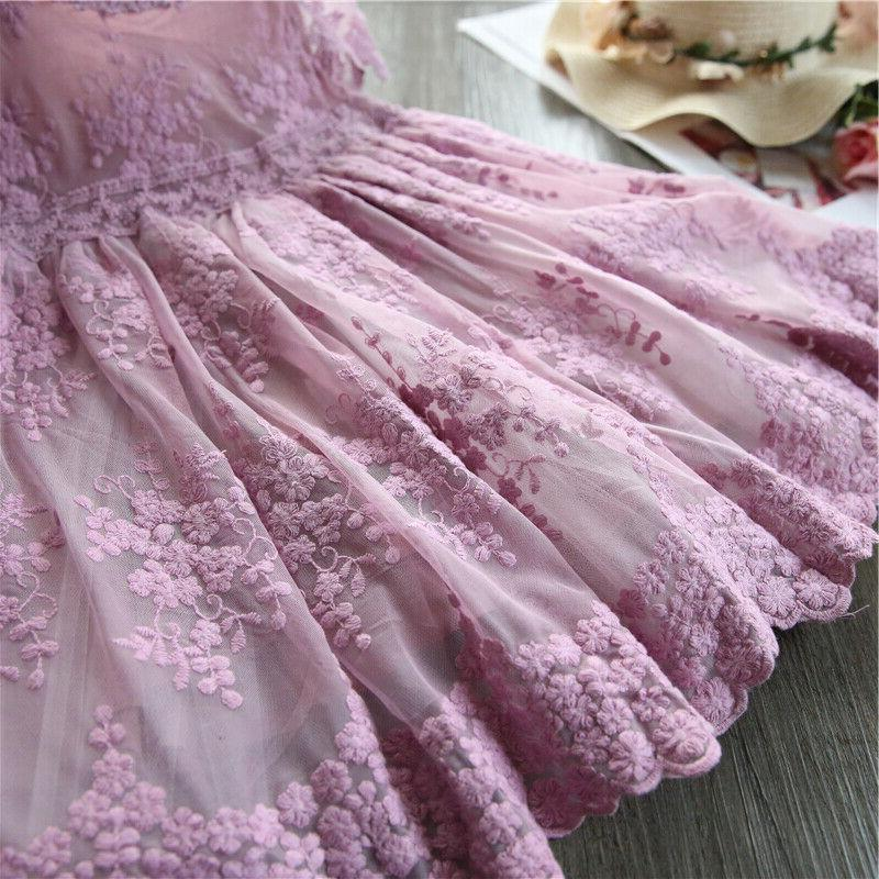Baby Girl Dress Lace Embroidery Purple