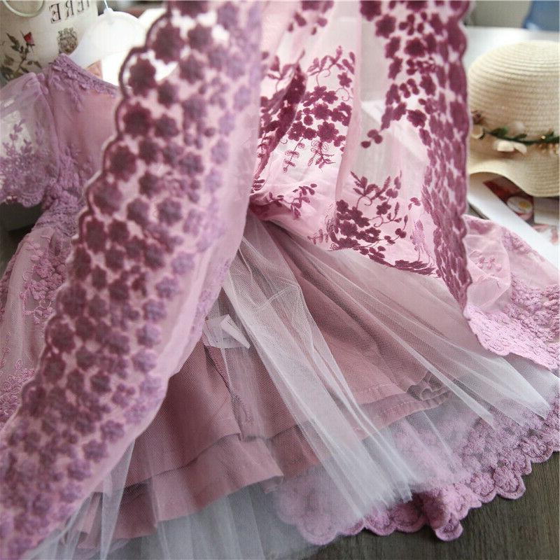 Embroidery Tutu Party Purple Clothes