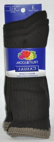 Fruit of the Loom Casual/Dress Black Socks 3 Pair Men's 10-1