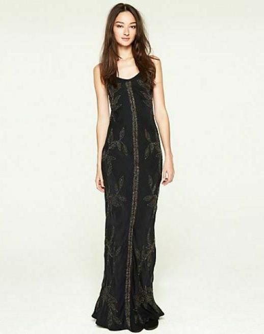 dynasty maxi dress black embellished gown metal
