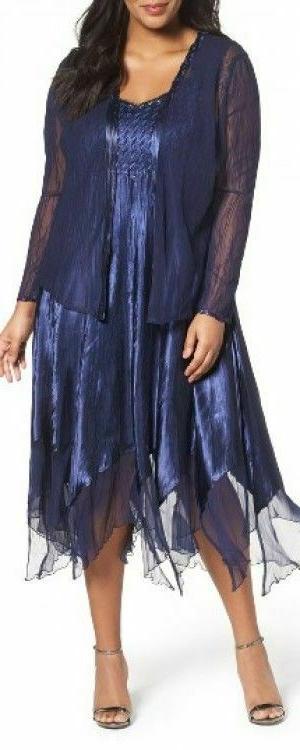 embellished charmeuse and chiffon dress with jacket