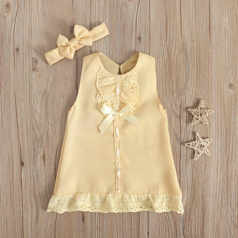 Fashion Newborn Baby Girl Dress+Headband Set outfit