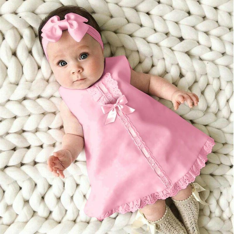 Fashion Newborn Baby Sleeveless Casual Dress+Headband Set outfit