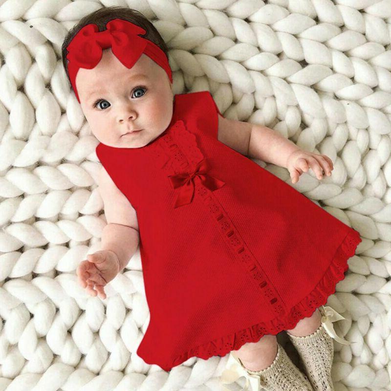 Fashion Newborn Sleeveless Dress+Headband outfit