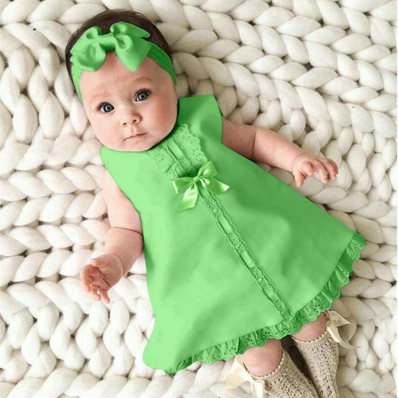 Fashion Baby Sleeveless Casual Maxi Bow Dress+Headband Set outfit
