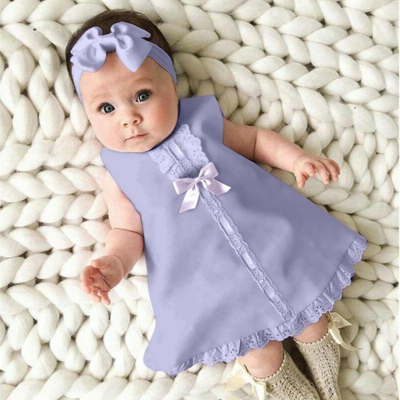 Fashion Baby Sleeveless Casual Dress+Headband