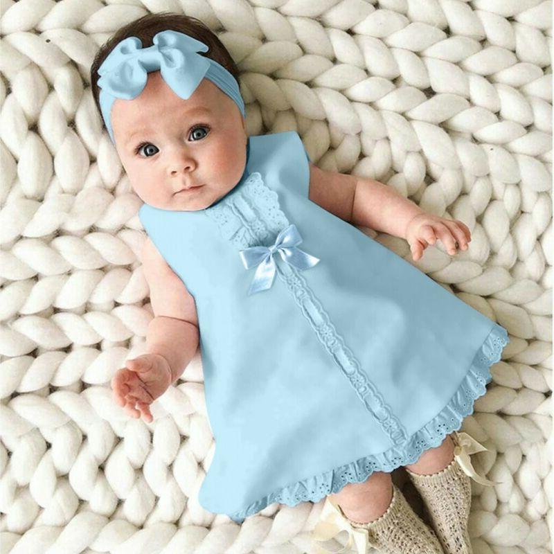 Fashion Baby Girl Sleeveless Dress+Headband Set outfit