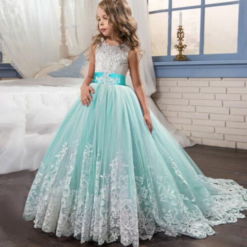 Flower Girl Princess Dress Embroidery Lace Trailing for Kids