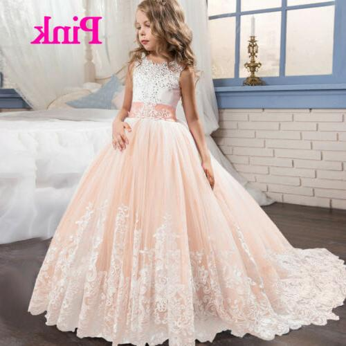 Flower Embroidery Lace Gown for Kids