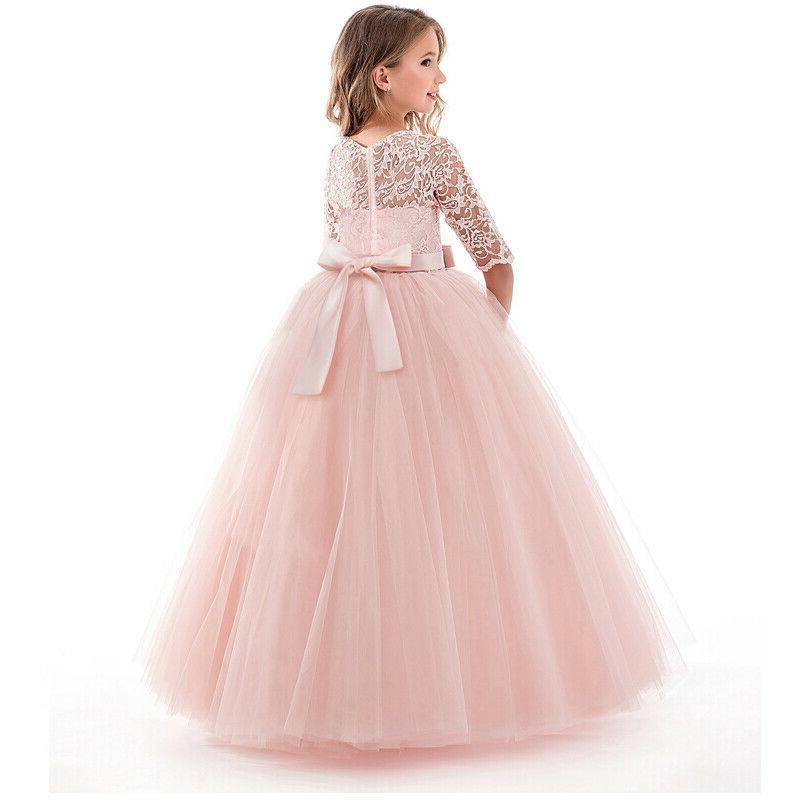 Flower Girls Princess Kids Wedding Lace Long 14T
