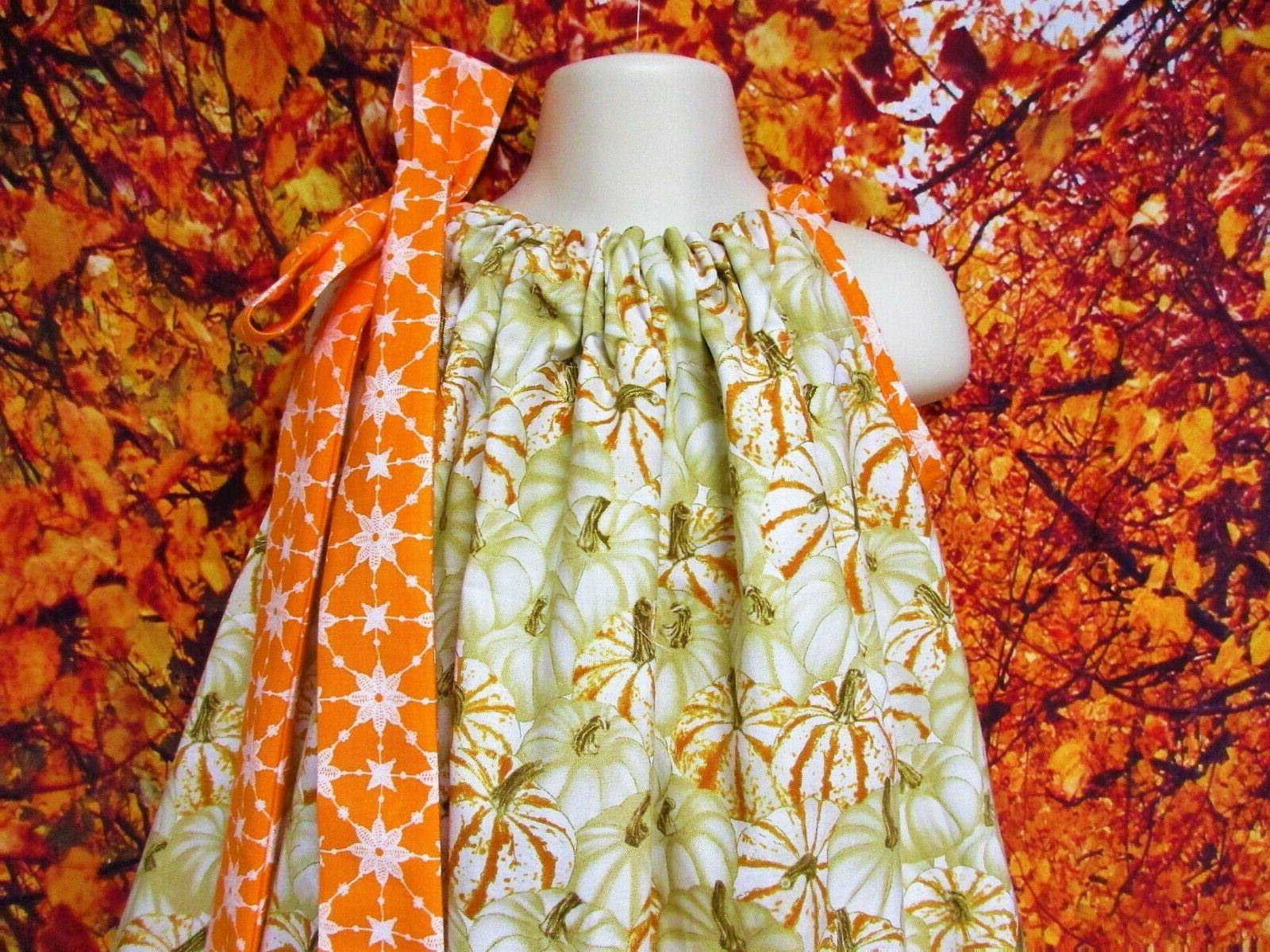 Girl Dress 4T/5 Sparkle Pumpkins, Cream, Orange, Pillow
