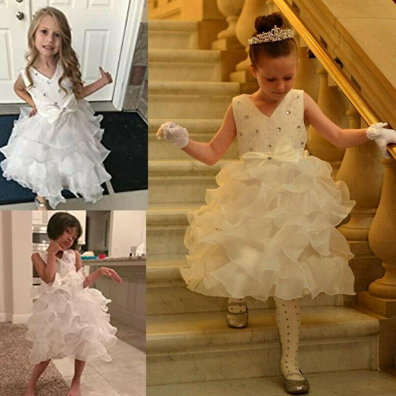 Girl Party Dress Gown Lace Baby Clothes