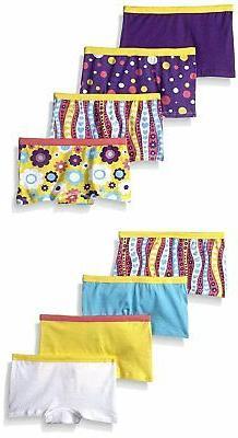 Fruit of the Loom Girls Boyshort Underwear Pack of 8 Panties