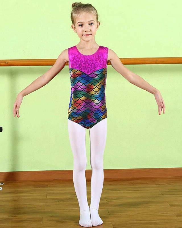 Baohulu Leotards Shiny Scale Print Dance Clothes