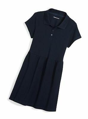 girls short sleeve polo dress navy s