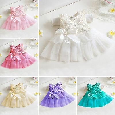 Girls Dress Bow Princess Flower Kids Baby Tutu Lace Wedding